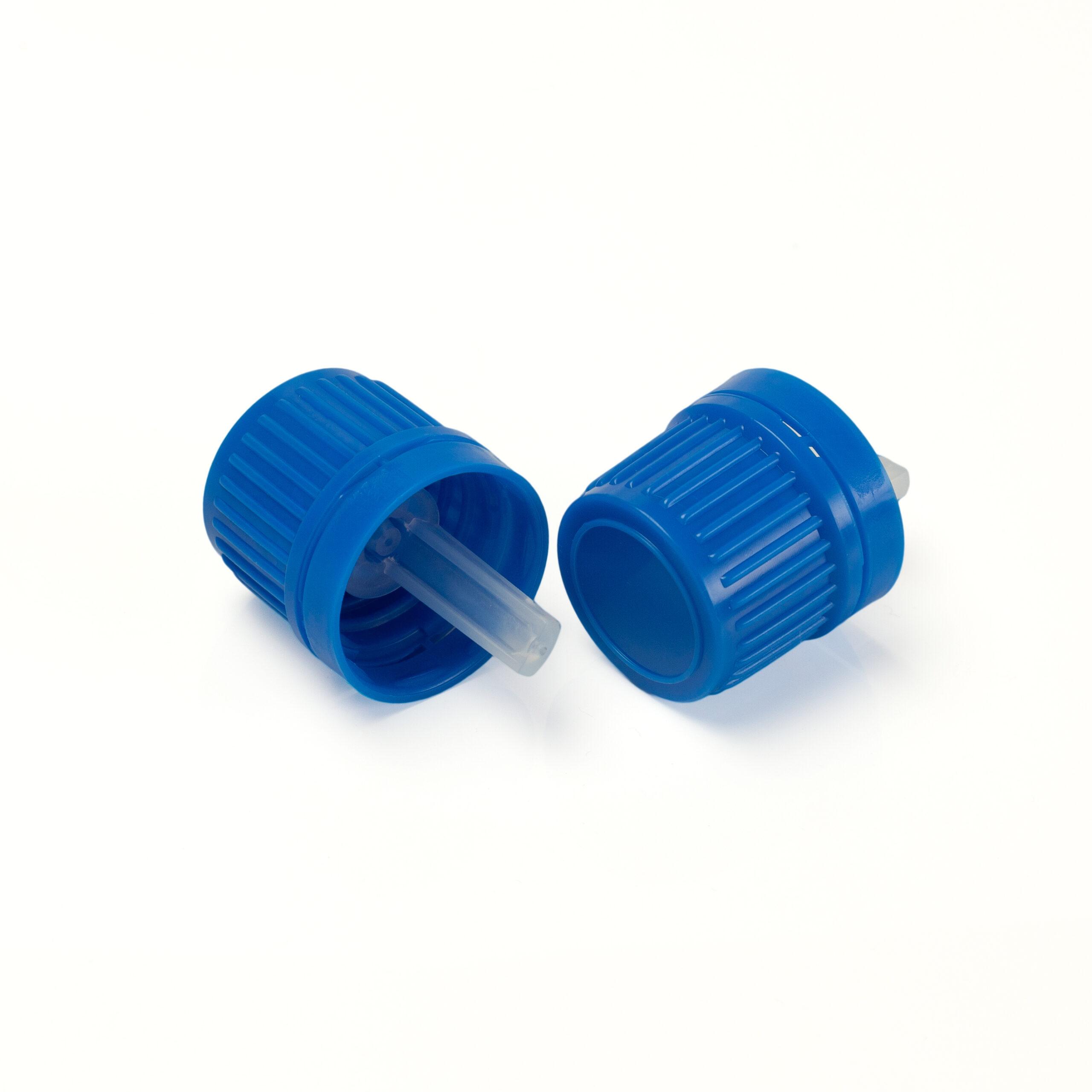 Blue DIN18 vertical dropper cap