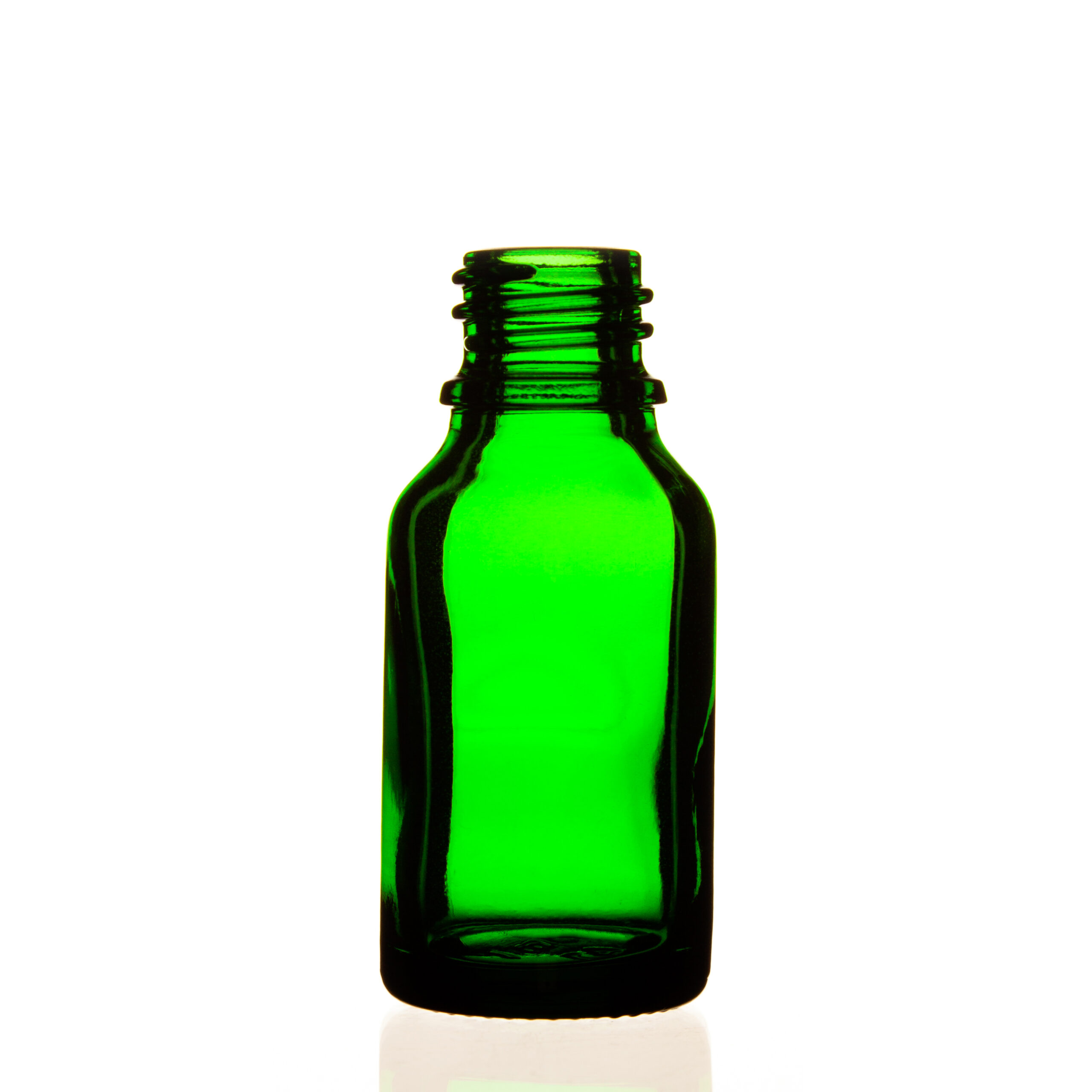 Frasco vidrio tipo III verde DIN18 15ml