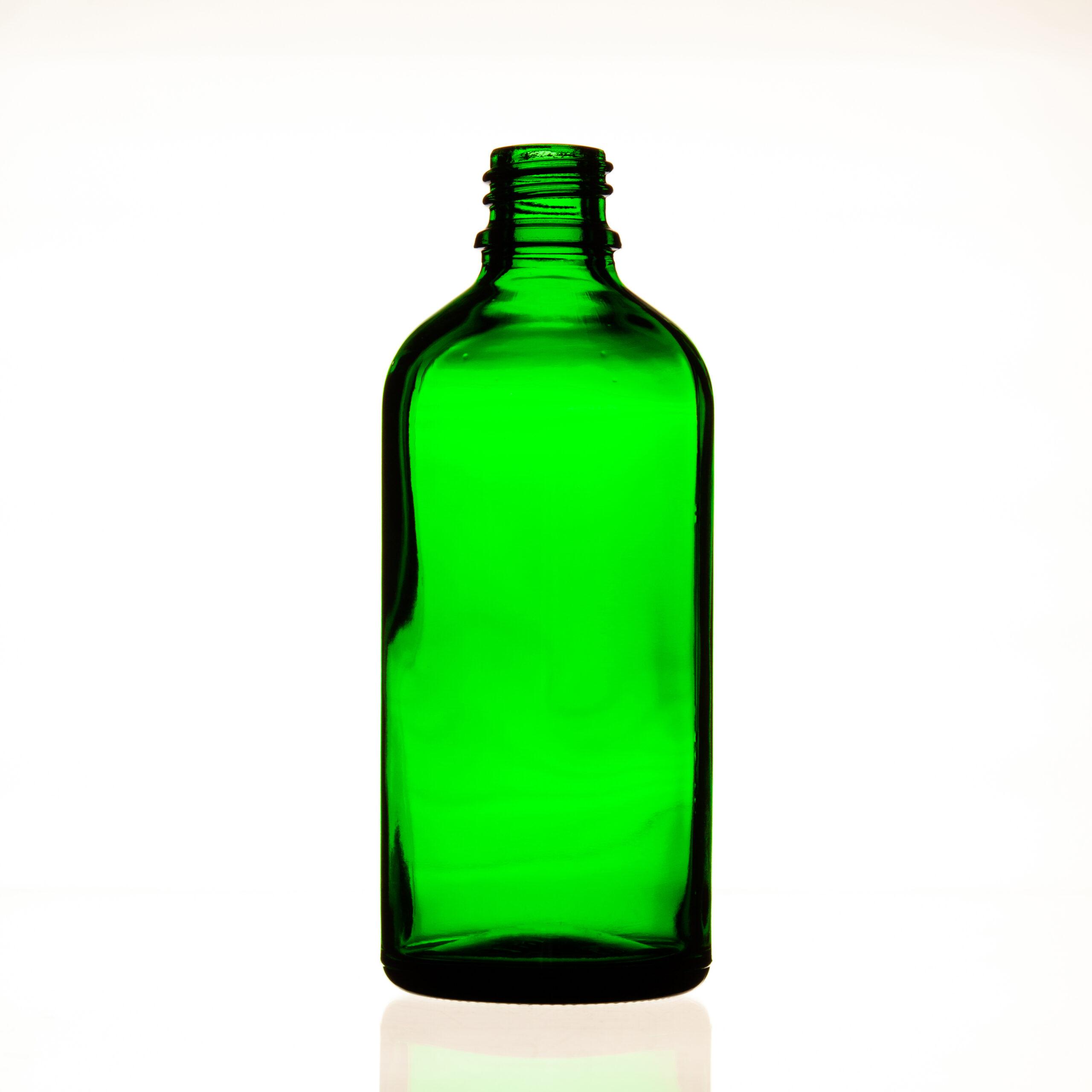 Frasco vidrio tipo III verde DIN18 100ml